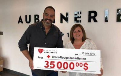 La Fondation Aubainerie remet 35 000 $ à la Croix-Rouge canadienne