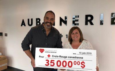 La Fondation Aubainerie remet 35 000 $ à la Croix-Rouge canadienne pour soutenir les sinistrés des inondations
